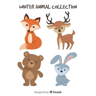 Adorable winter animal collection