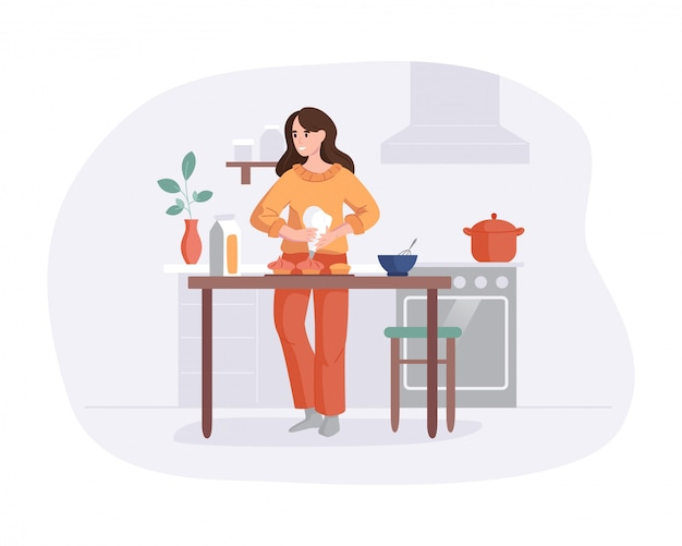 Прелестная женщина варя на таблице в кухне. девушка готовит торты для выпечки. кулинарная концепция хобби. вид спереди интерьер сцены в плоском стиле