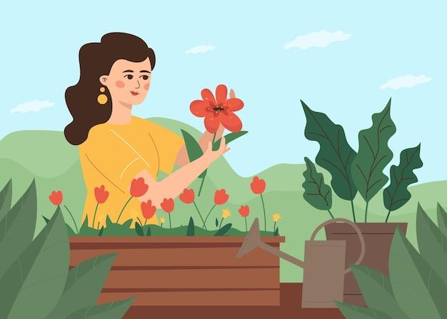 사랑스러운 여성 꽃집은 뒤뜰에 있는 집 정원을 돌봅니다. 레크리에이션을 위한 취미.