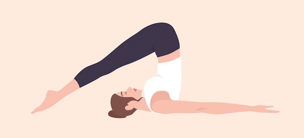 Adorable woman in halasana position or plough pose. funny female cartoon character practicing hatha yoga. young yogi girl performing exercise isolated on light background. flat illustration.