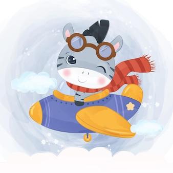 水彩イラストで飛行機と一緒に飛んでいる愛らしいシマウマ