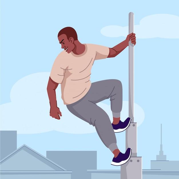Адреналин наркомании плоской иллюстрации. экстремальная спортивная одержимость. рискованные уловки зависимости. бездумный юноша, сорвиголова, взбирающийся на высокую башню без средств защиты персонажа из мультфильма