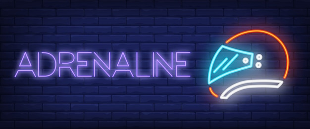 Adrenaline neon text with helmet