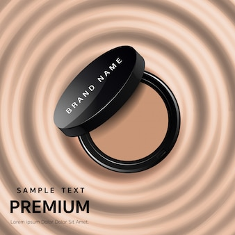Ads attractive makeup essential product with texture isolated on glitter background