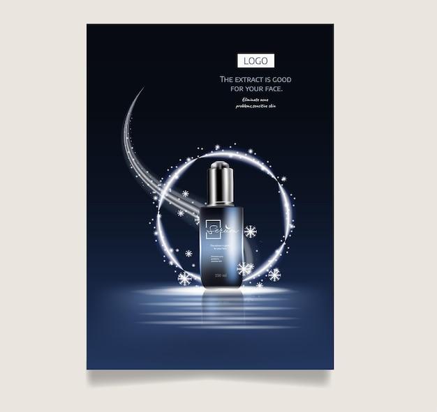 3d 그림에서 반짝이 눈과 진한 파란색 배경에 광고 화장품 스킨 케어