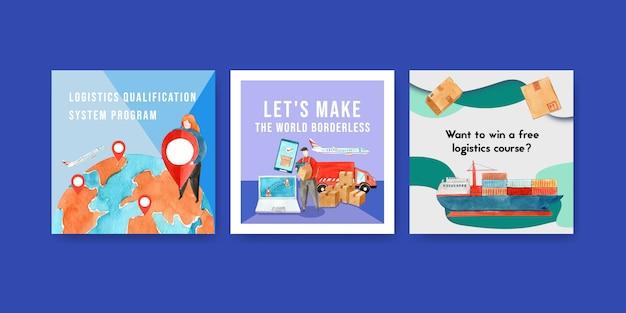 Дизайн рекламы с картиной акварели контейнеровоза, коробки, иллюстрации карты установленной.
