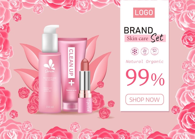 Ads fashion cosmetic collectionlipstick skin care and cleansing with rose flower petal pastel color