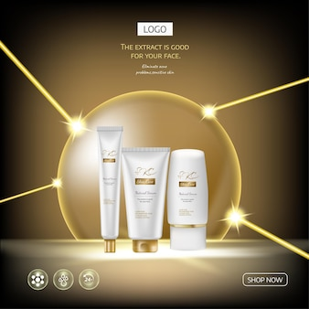 Ads  gold cosmetic set with professional facial serum on the background of waves and light effect
