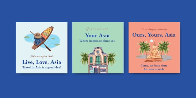 Ads template with asia travel concept design for marketing and advertise watercolor vector illustration