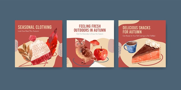 Ads template with autumn daily concept design for advertising and marketing watercolor