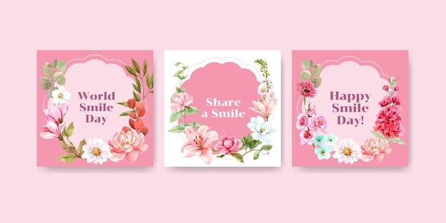 Шаблон рекламы с дизайном букета цветов для концепции всемирного дня улыбки для маркетинга акварельной векторной иллюстрации.