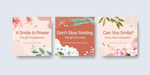 Modello di annunci con disegno di bouquet di fiori per il concetto di giornata mondiale del sorriso per illustrareion di vettore dell'acquerello di marketing.