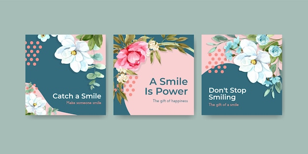 Ads template with flowers bouquet design for world smile day concept to marketing watercolor vector illustraion.
