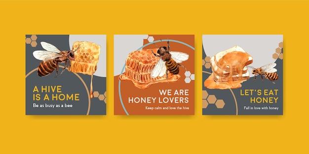 Шаблон рекламы с медом для маркетинга и рекламы акварели