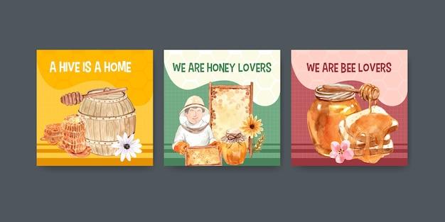 マーケティングと水彩画の宣伝のための蜂蜜と広告テンプレート