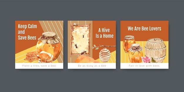마케팅을위한 꿀 광고 템플릿 및 수채화 광고
