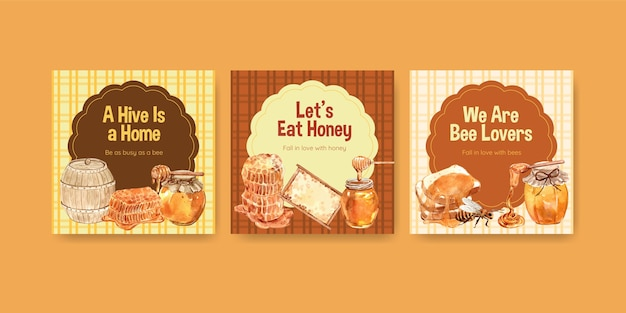 Ads template with honey for marketing and advertise watercolor