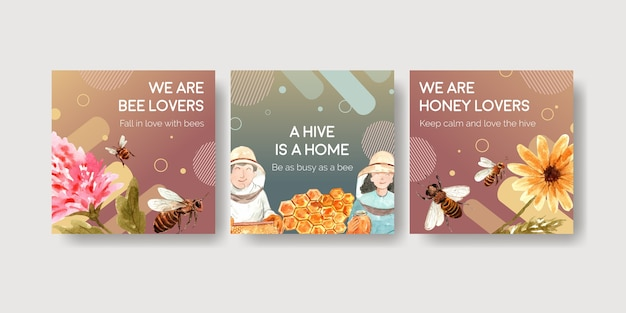 Ads template with honey for marketing and advertise watercolor Free Vector