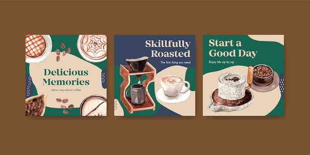 Ads template with international coffee day concept design for advertise and marketing watercolor