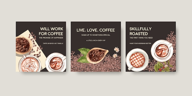 광고 및 마케팅 수채화를위한 국제 커피 데이 컨셉 디자인 광고 템플릿