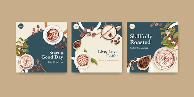 Шаблон рекламы с концептуальным дизайном международного дня кофе для рекламы и маркетинговой акварели