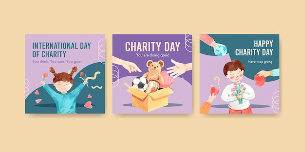 Ads template with international day of charity concept design for advertise and marketing watercolor.