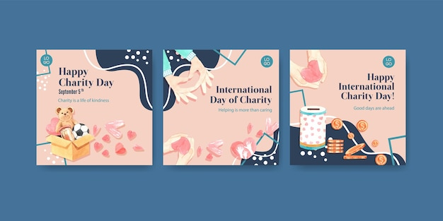 광고 및 마케팅 수채화를위한 국제 자선의 날 컨셉 디자인 광고 템플릿.