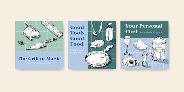 ベクトルイラストを宣伝するためのキッチン家電のコンセプトデザインと広告テンプレート