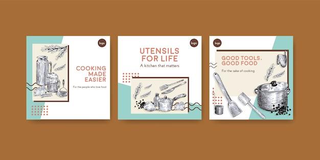 Шаблон рекламы с концептуальным дизайном кухонной техники для рекламы векторные иллюстрации