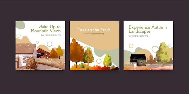 Ads template with landscape in autumn design for instagram post