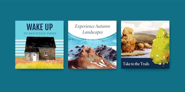 Шаблон рекламы с пейзажем в осеннем дизайне для поста в instagram