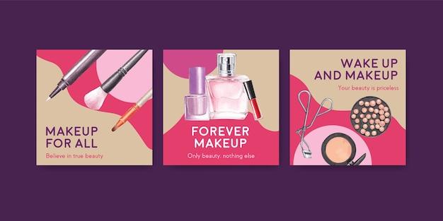 Шаблон рекламы с концепцией макияжа для маркетинга и бизнес-акварели.