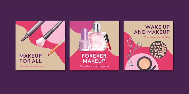 Ads template with makeup concept design for marketing and business watercolor.