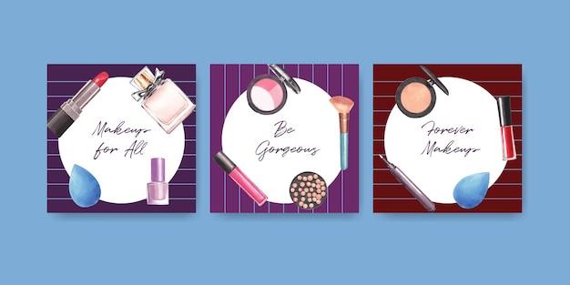 Modello di annunci con concept design di trucco per marketing e acquerello aziendale.