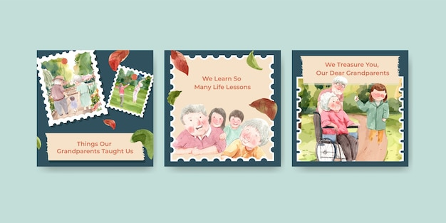 Ads template with national grandparents day concept design for advertise and marketing watercolor.