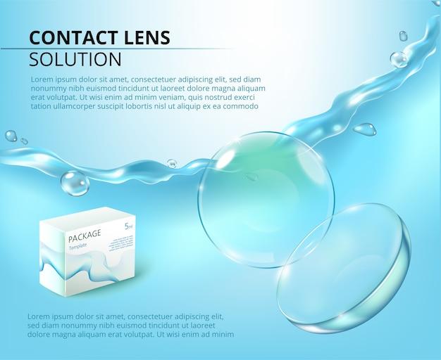 Шаблон рекламы с реалистичными контактными линзами, брызгами воды и упаковкой лекарств.