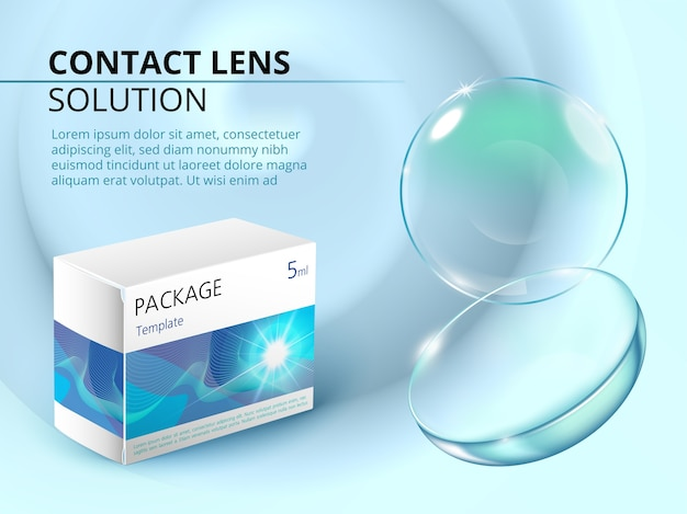 Ads template with realistic contact lens, water splash and medicine package.