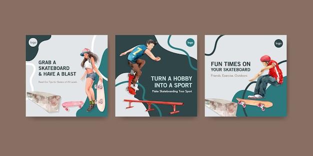 Modello di annunci con il concetto di design di skateboard per pubblicità e illustrazione vettoriale acquerello volantino
