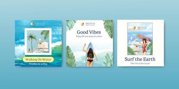 해변에서 서핑 보드와 광고 템플릿