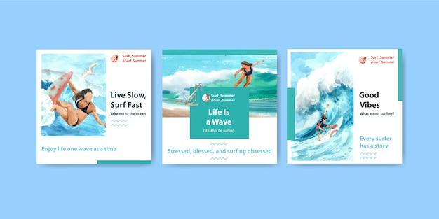 ビーチでサーフボードを含む広告テンプレート