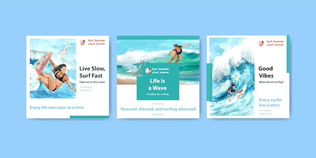 Шаблон рекламы с досками для серфинга на пляже