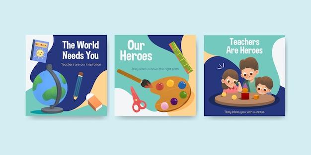 教師の日のコンセプトデザインの広告テンプレート