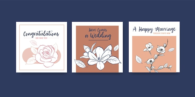 Ads template with wedding ceremony concept design for advertise and leaflet vector illustration.