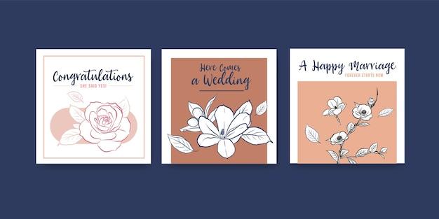 広告とリーフレットのベクトルイラストの結婚式のコンセプトデザインの広告テンプレート。