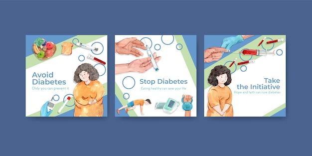 Шаблон рекламы с всемирным днем диабета для маркетинговой акварели