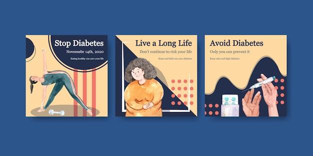 Modello di annunci con giornata mondiale del diabete per l'acquerello di marketing