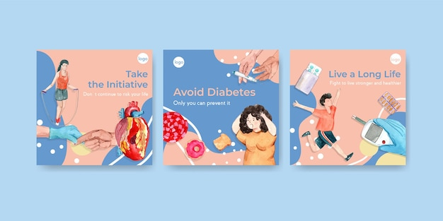 Ads template with world diabetes day for marketing watercolor