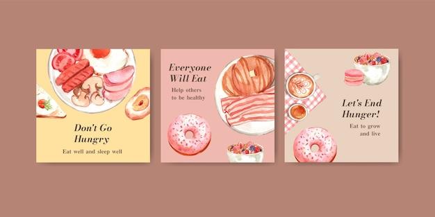 Modello di annunci con concept design della giornata mondiale dell'alimentazione per pubblicità e marketing ad acquerello