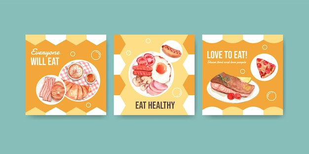 광고 및 마케팅 수채화를위한 세계 음식의 날 컨셉 디자인 광고 템플릿