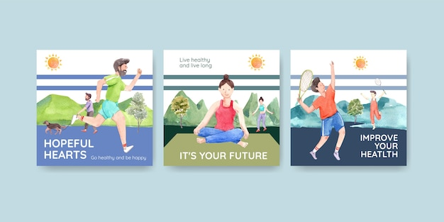 Ads template with world mental health day concept design for advertise and marketing watercolor